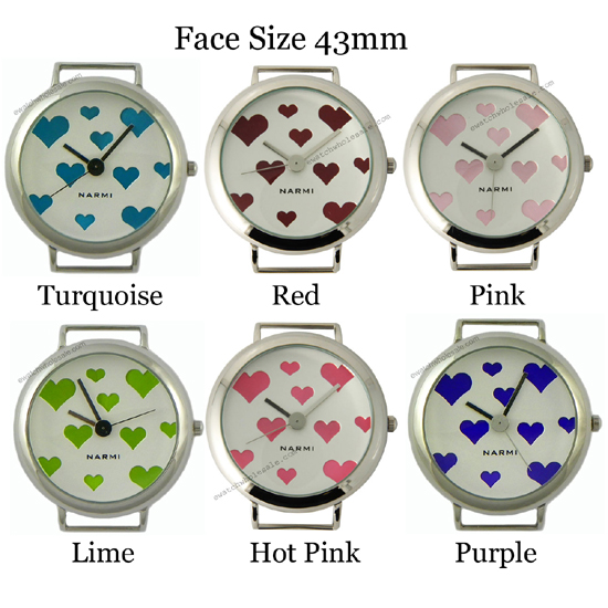 Closeout - Solid Bar Heart Ribbon Watch Face 43mm