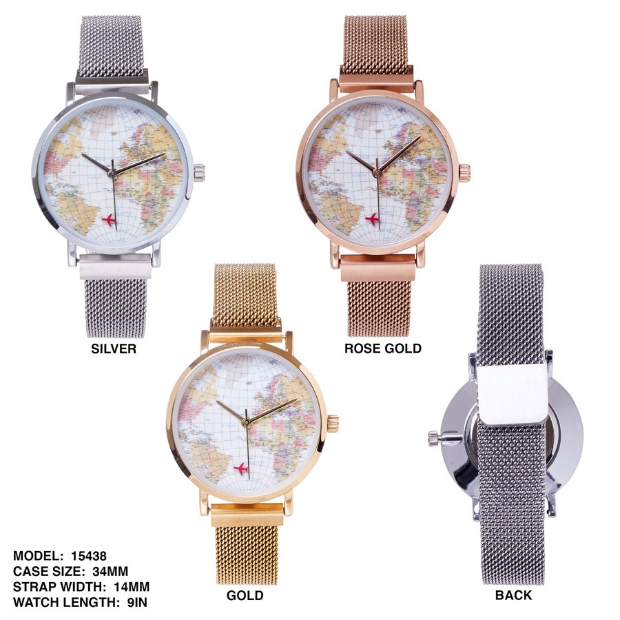 New Unisex world Map printed Dial with Mesh strap Band