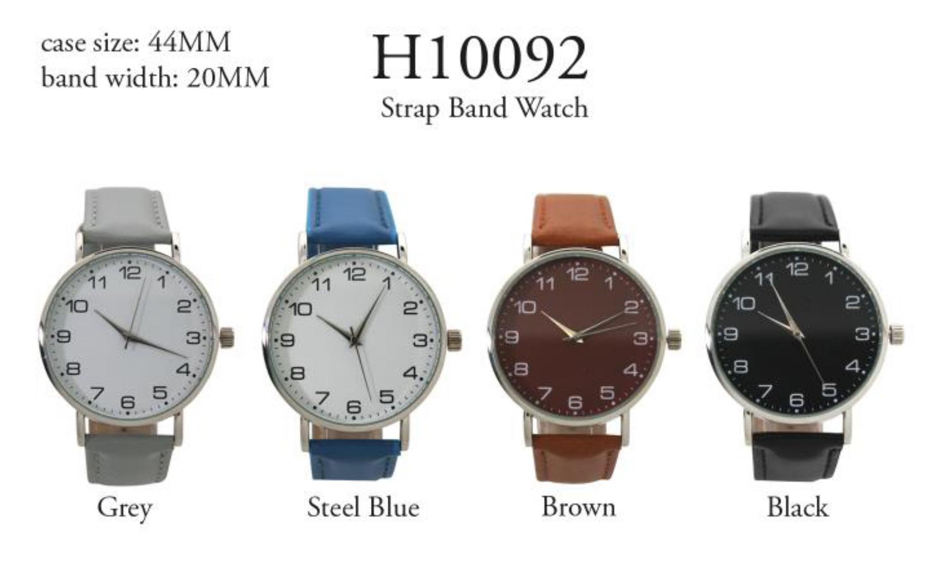 Men's 40mm Round Number Dial Watch with Leather Strap Band