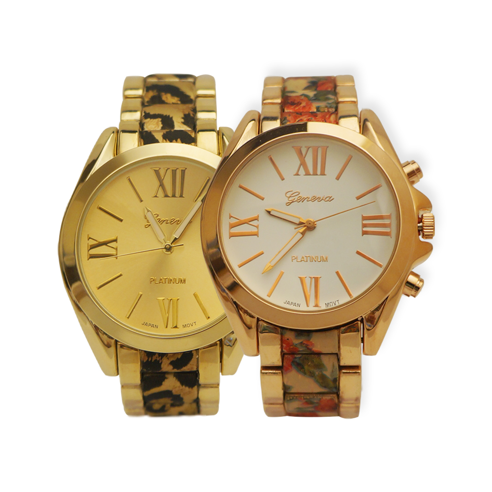 Ewatchwholsale-Women's 34 mm Round Roman Number Dial With Printed Stainless Steel Band