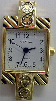Geneva 23mm Sqare Gold tone watch face