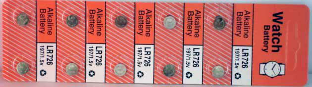 10 Alkaline Watch Batteries (LR726)