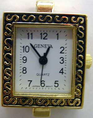 Geneva 22mm Square Shape Gold tone watch face
