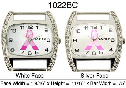 Geneva Breast Cancer solid bar watch faces w/rhinestones