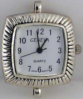 Geneva 22mm Square Silver tone big hole Face