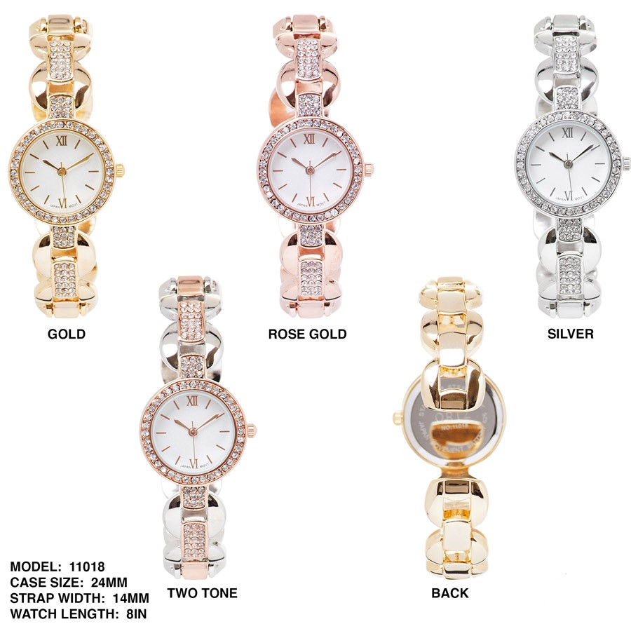 NEW women's round CZ dial with Stainless steal Strap