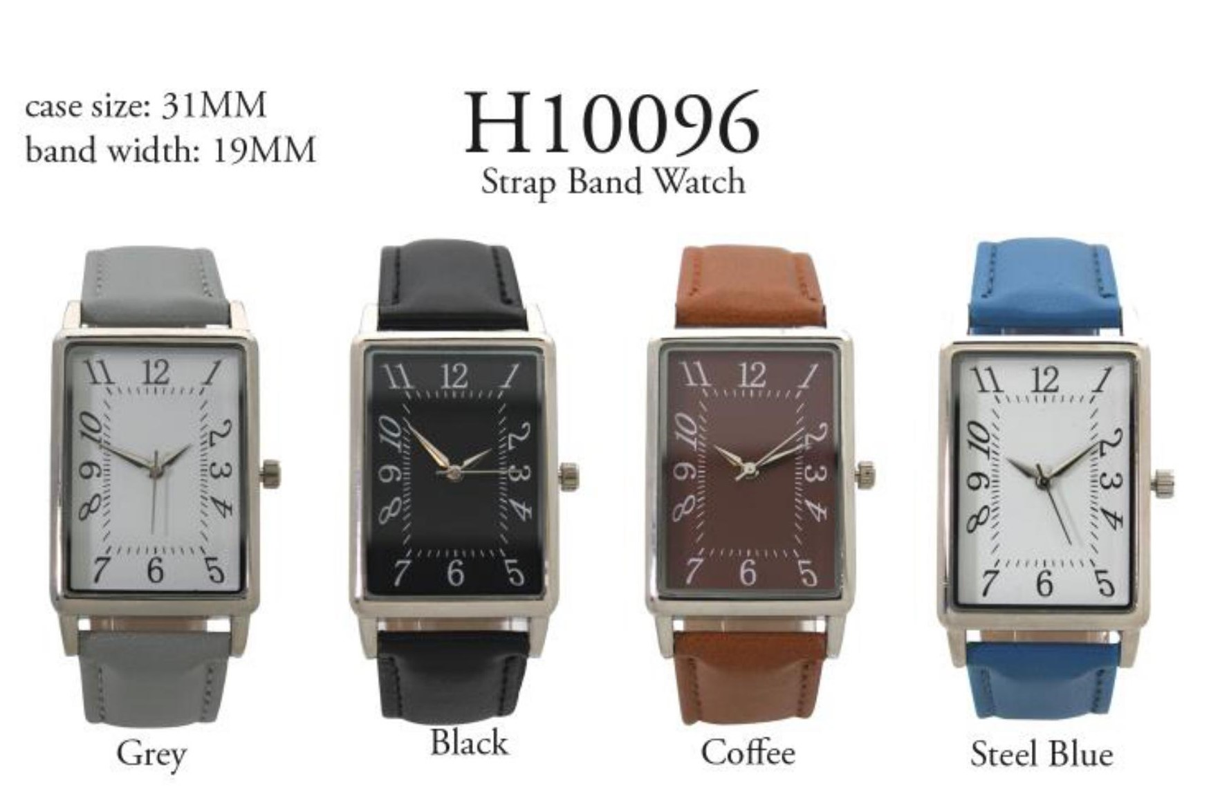 Men's 31mm Square Shape Dial with leather Strap Band