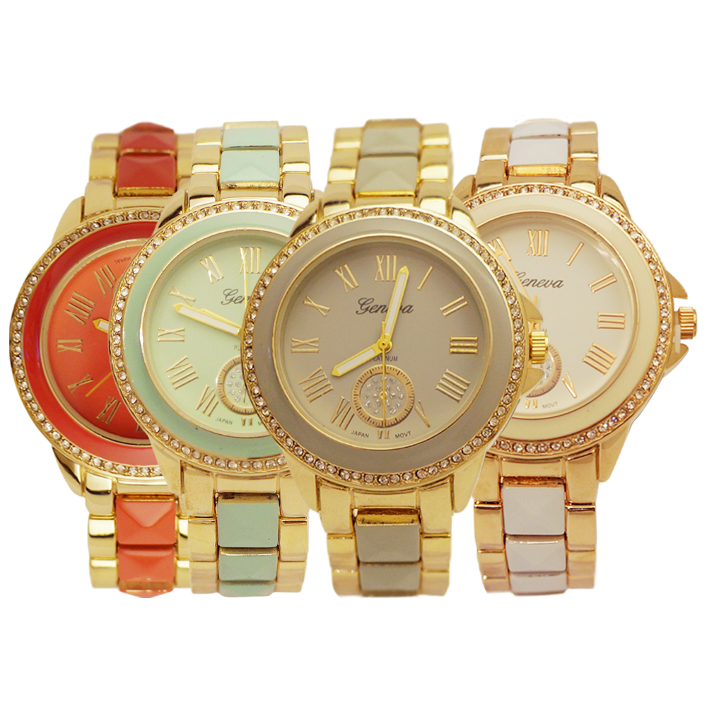 Ewatchwholsale-Women's  34 mm Round CZ Dial with 2 tone Stainless Steel Band