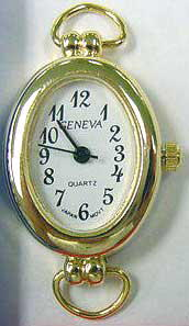 Geneva 24mm Oval Shape Gold Tone loop Face