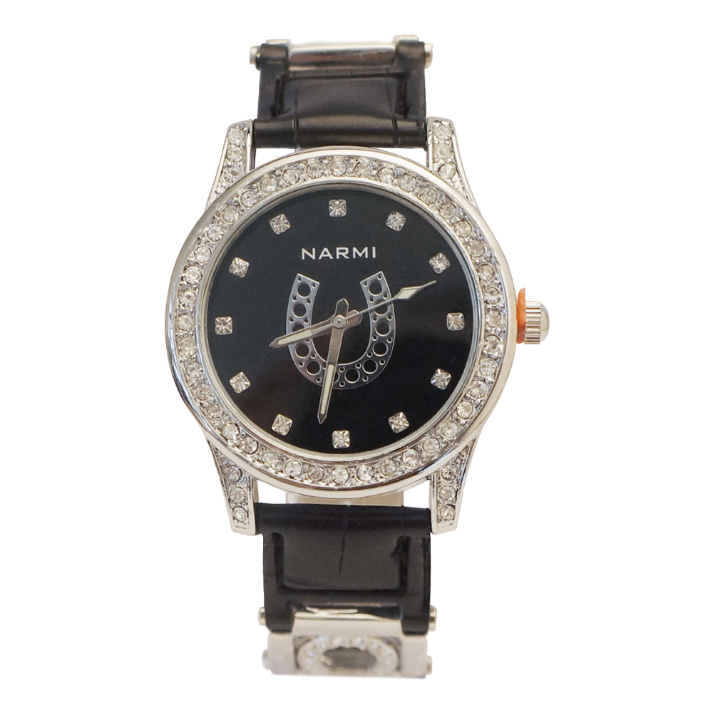 Ewatchwholsale-Women's 32 mm Rhine stone Dial with Black Color Leather Band
