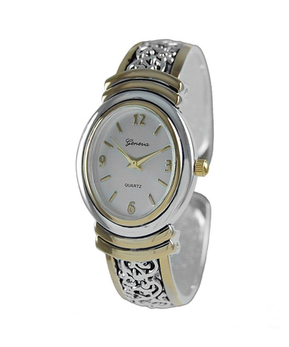 Geneva Platinum Womens Filligree Cuff Watch