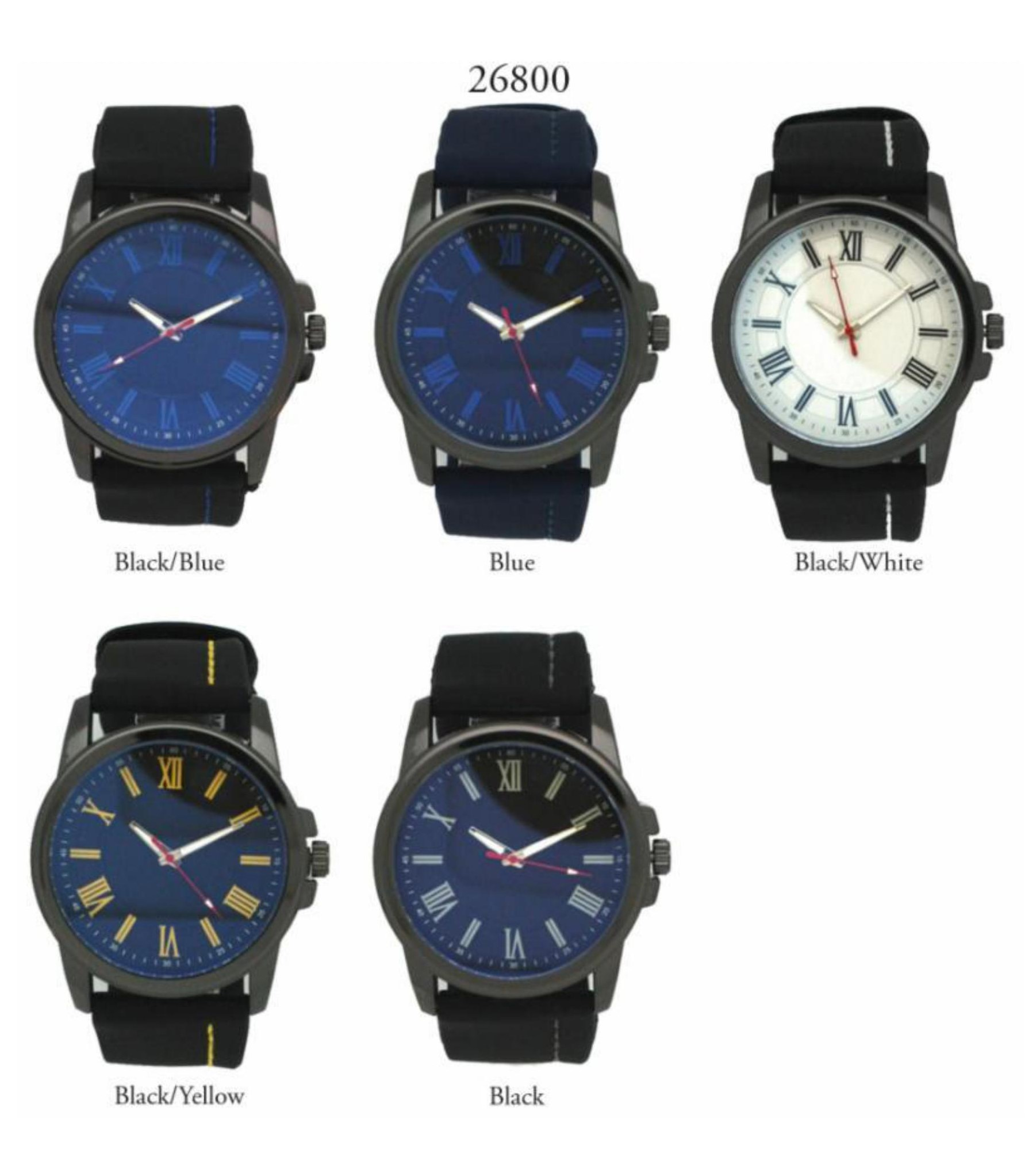 Men's 40mm Round Dial with Silicone Rubber Strap Band