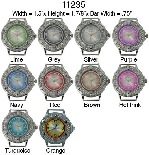 Wheel Style CZ Solid Bar Ribbon Watch Face