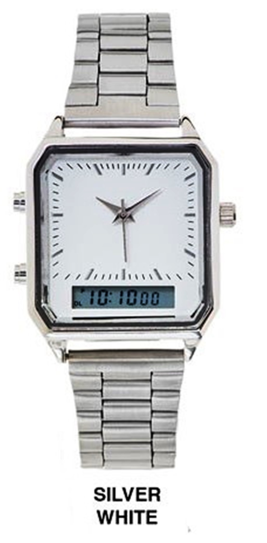 Men's 39mm Square analog or Digital Dial With Stainless Steal Band