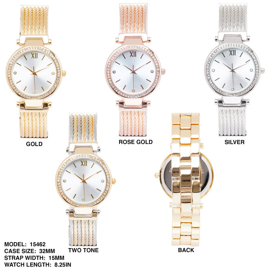 NEW Women's 32mm Round CZ Dial with Stainless Steal Band Watch