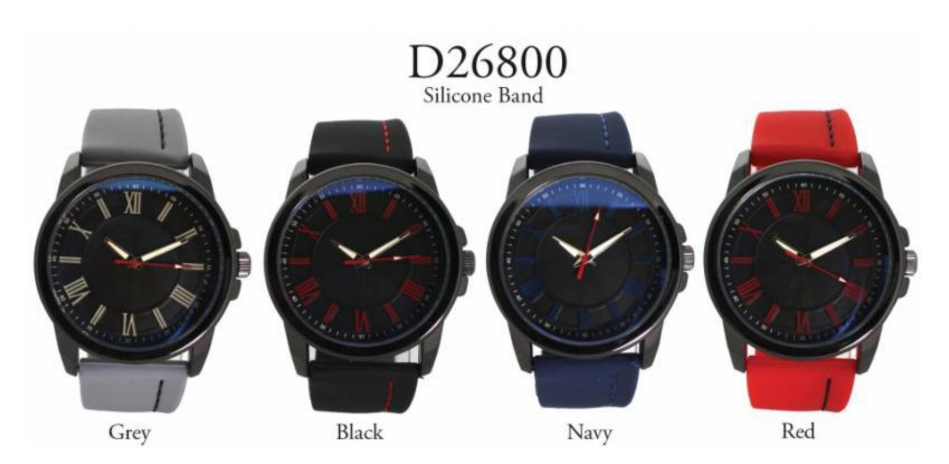 Men's 40 mm Round Dial with Silicone Rubber Band Watch