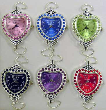 Watch Faces with Heart-Shaped Rhinestone Case & Matching Dial