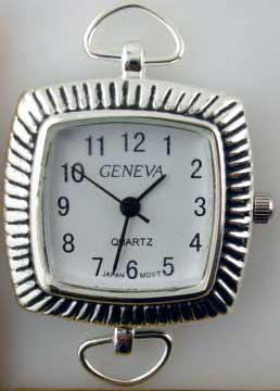 Geneva 22 Square Silver tone loop watch faces
