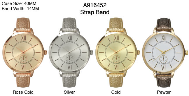 Large Face Metallic Strap Band Watch with Roman Numerals and Single Chronograph on Dial-(only Silver)