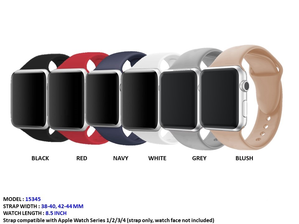 NEW Unisex Apple 38-40mm Silicone Rubber CZ Band with Beautiful Color