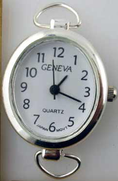 Geneva Oval shape  Silver tone loop watch faces
