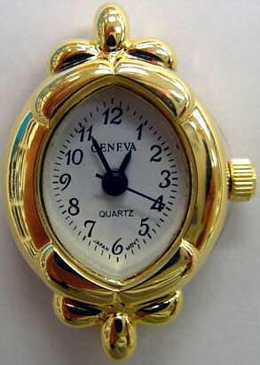 Geneva 22mm Oval Gold tone watch faces