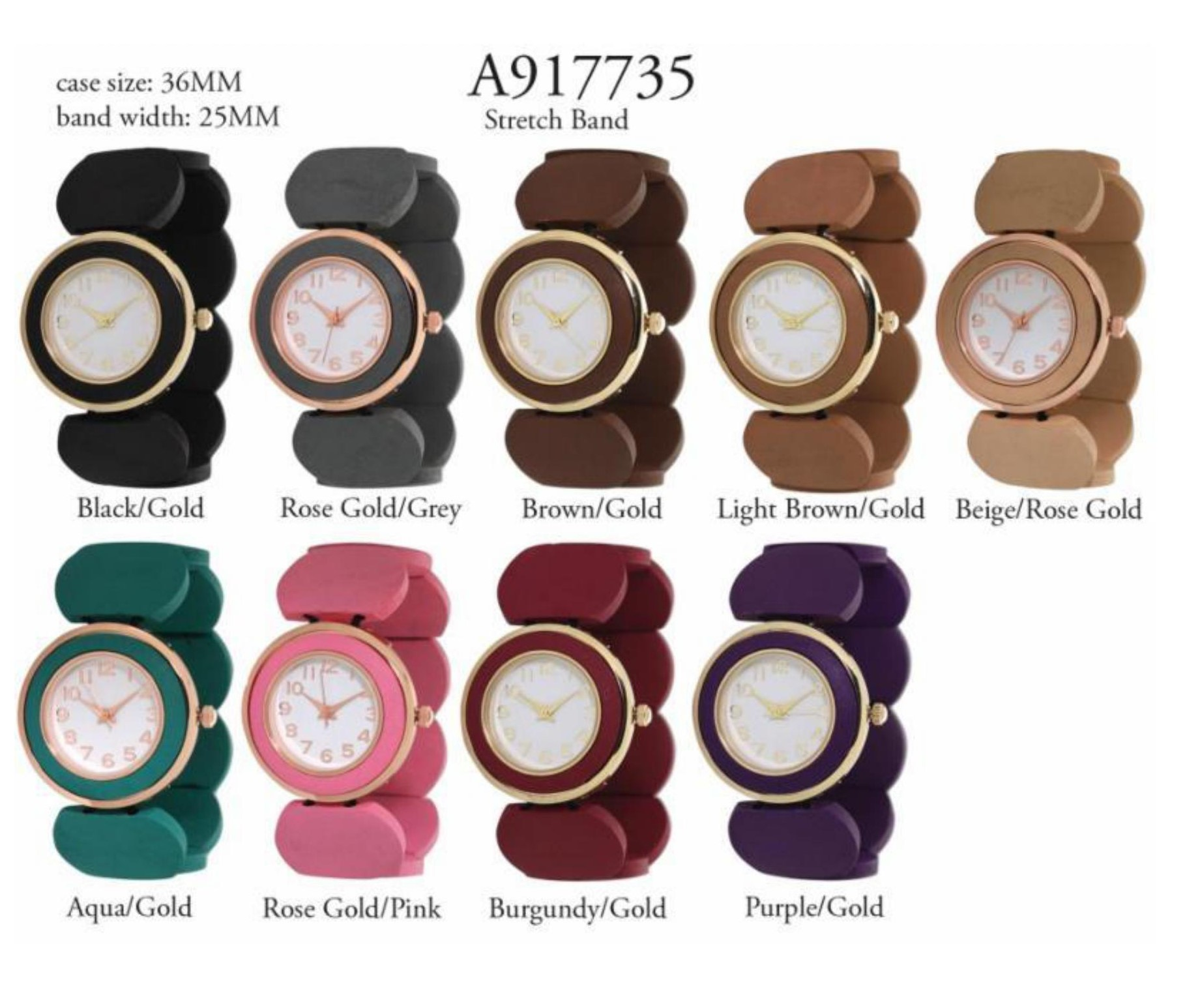 Women's 36mm Round Dial with fancy Stretchable Watch Band