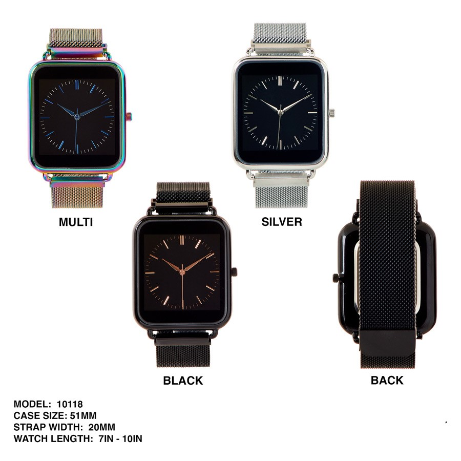 NEW Men's 51mm Square Dial with Mesh Strap Band