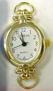 Geneva 22mm Oval Gold tone with Loop Watch Face
