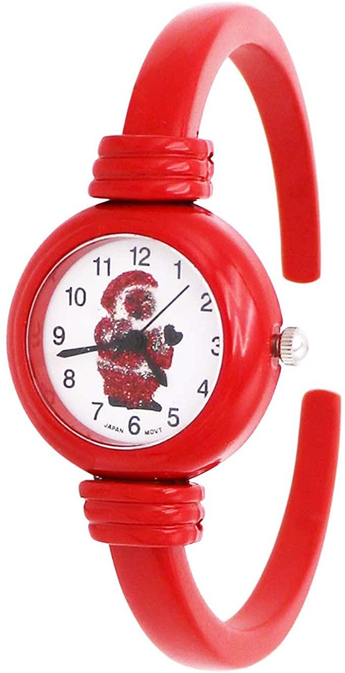Excellentwatches Women's Festive Red Enamel Glitter Santa Christmas Holiday Cuff Bracelet Watch