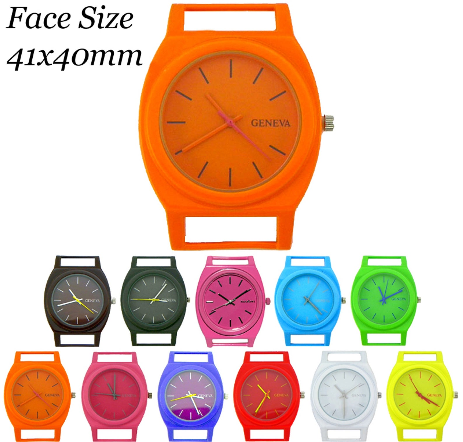 Contemporary Solid Bar Ribbon Watch Faces 41x40mm