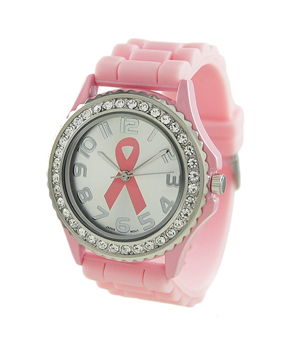 Women's CZ 39mm Dial watch Silicon Rubber Band
