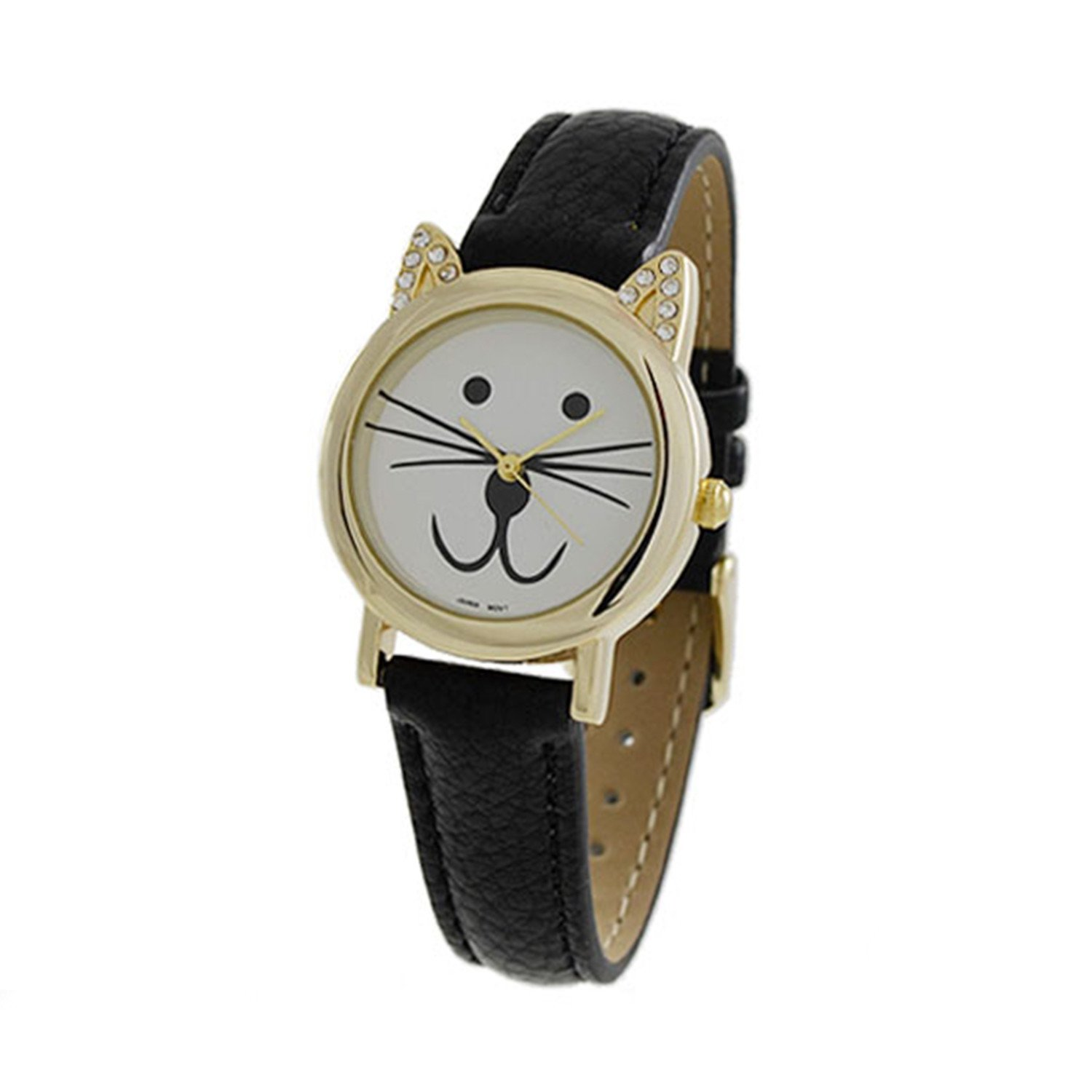 women's CZ 28mm Cat Face Dial with Leather Strap