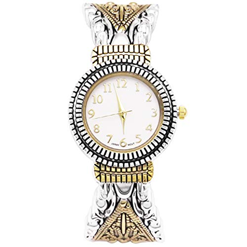 Ewatchwholsale-Women's Stylish Concho Two Tone Bangle with Intricate Detail Cuff Bracelet Watch for Large Wrists