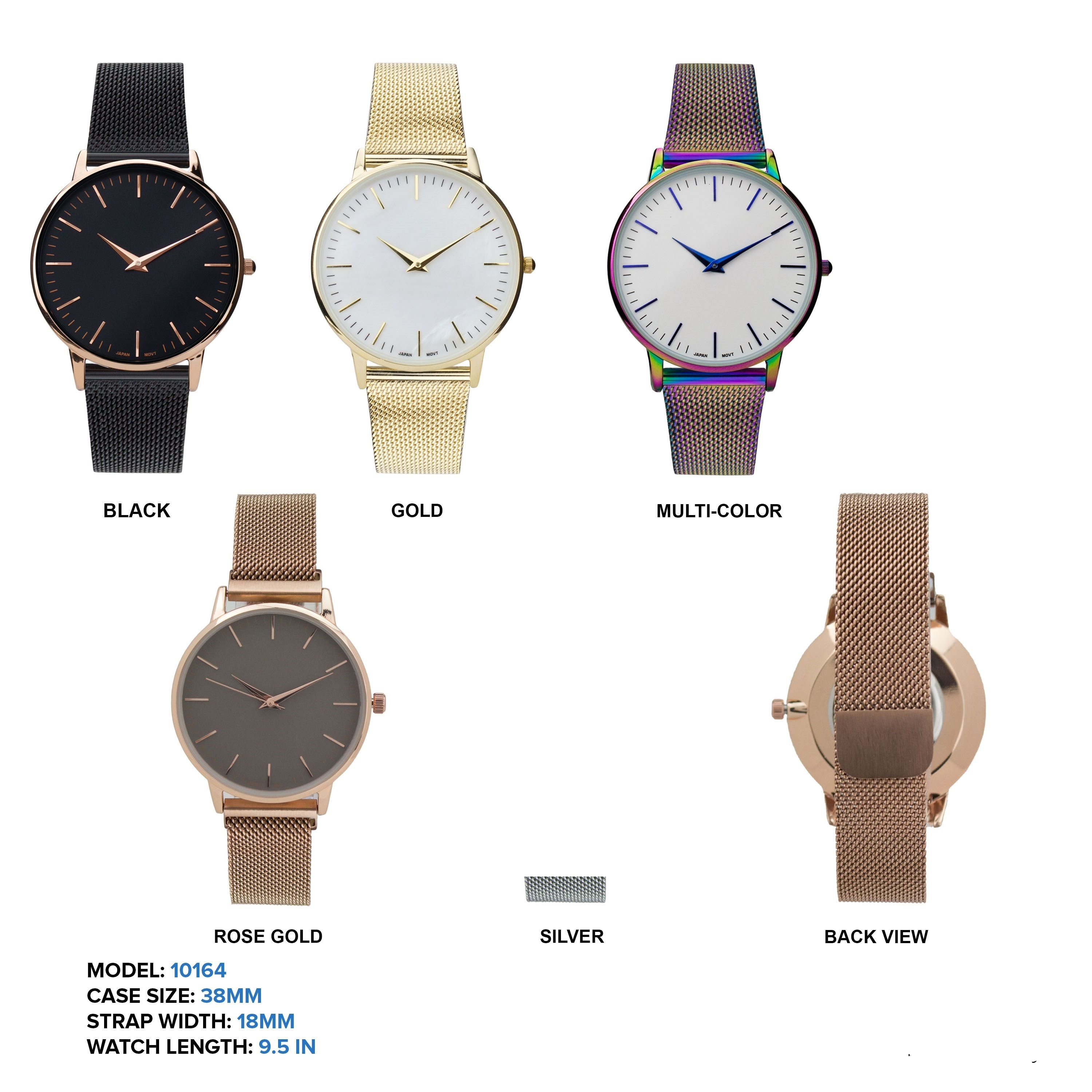 Women's 38mm Round Simple Dial with Mesh Strap Band