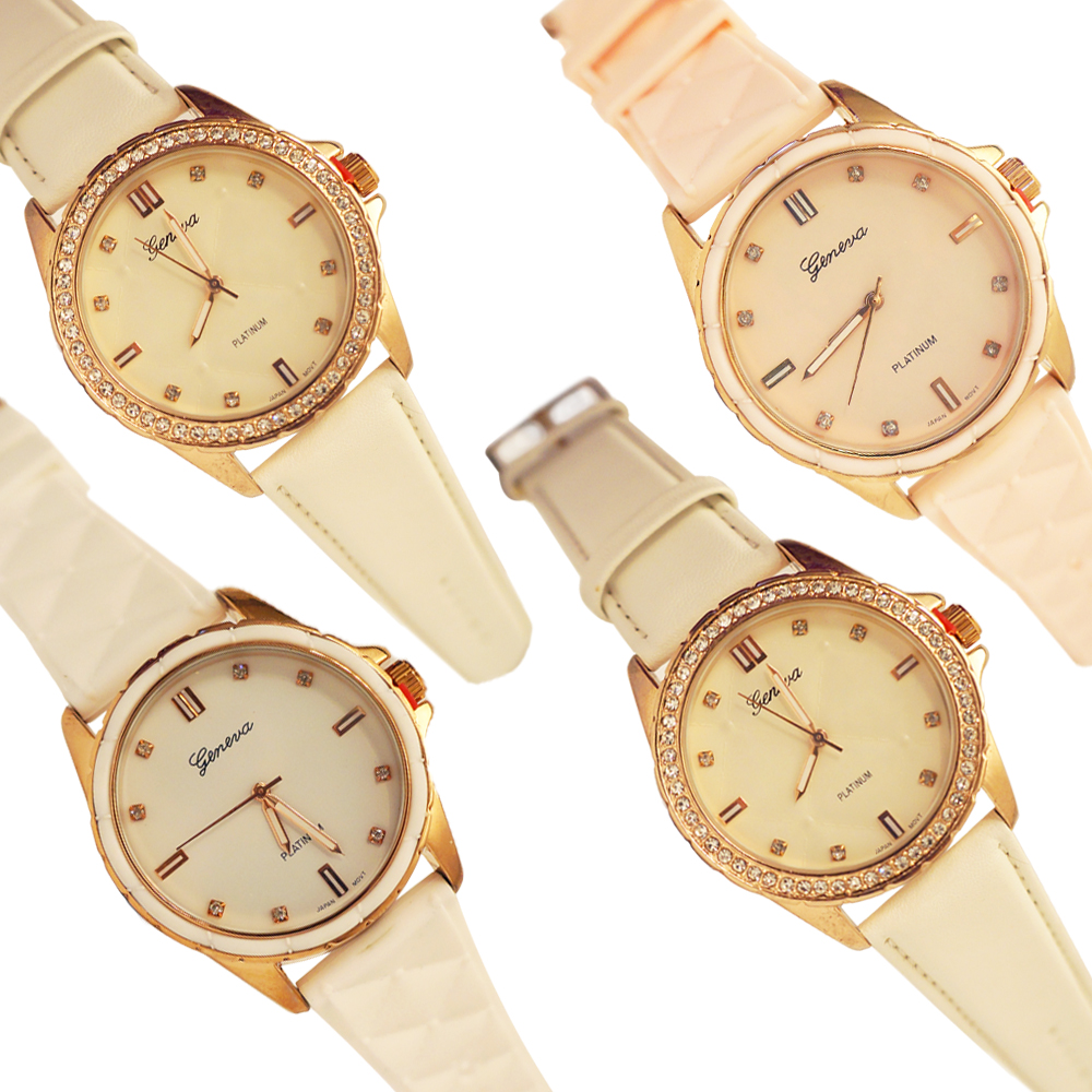 Ewatchwholsale- Women's 34mm Round dial with Leather Band