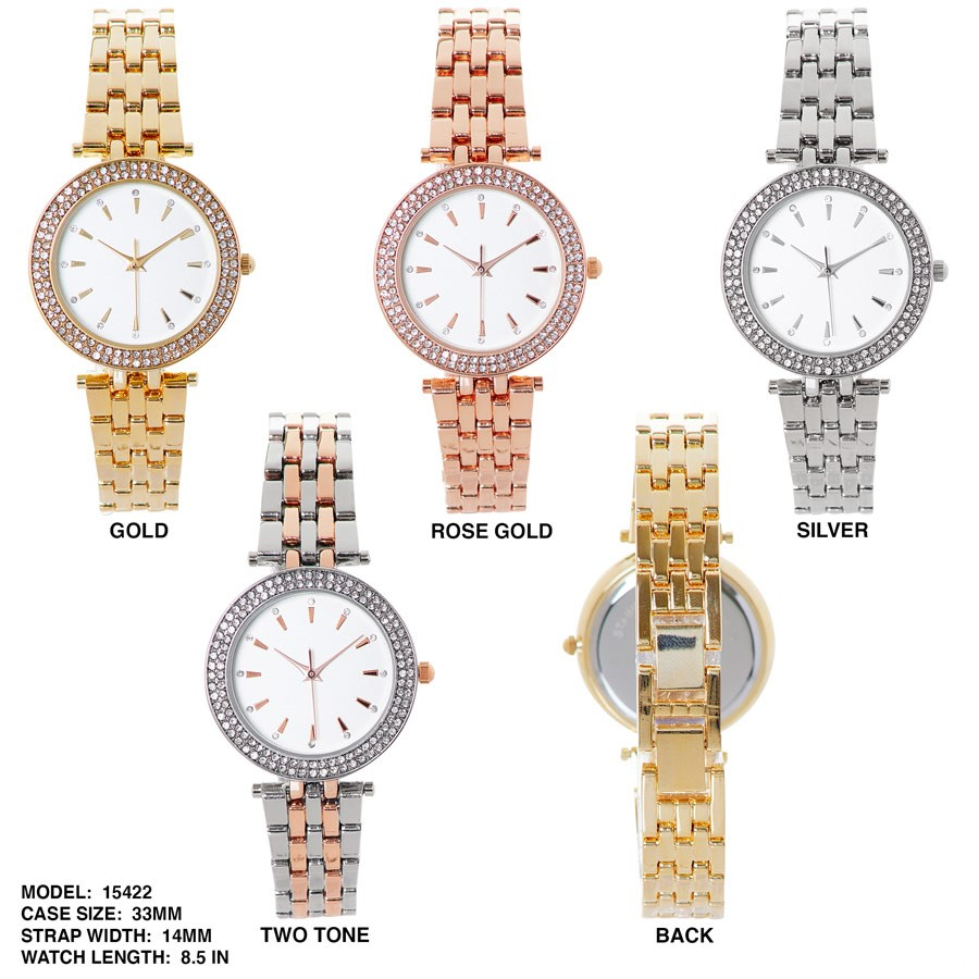 NEW Women's 33mm Round Stone Border Dial with stainless Steal Strap