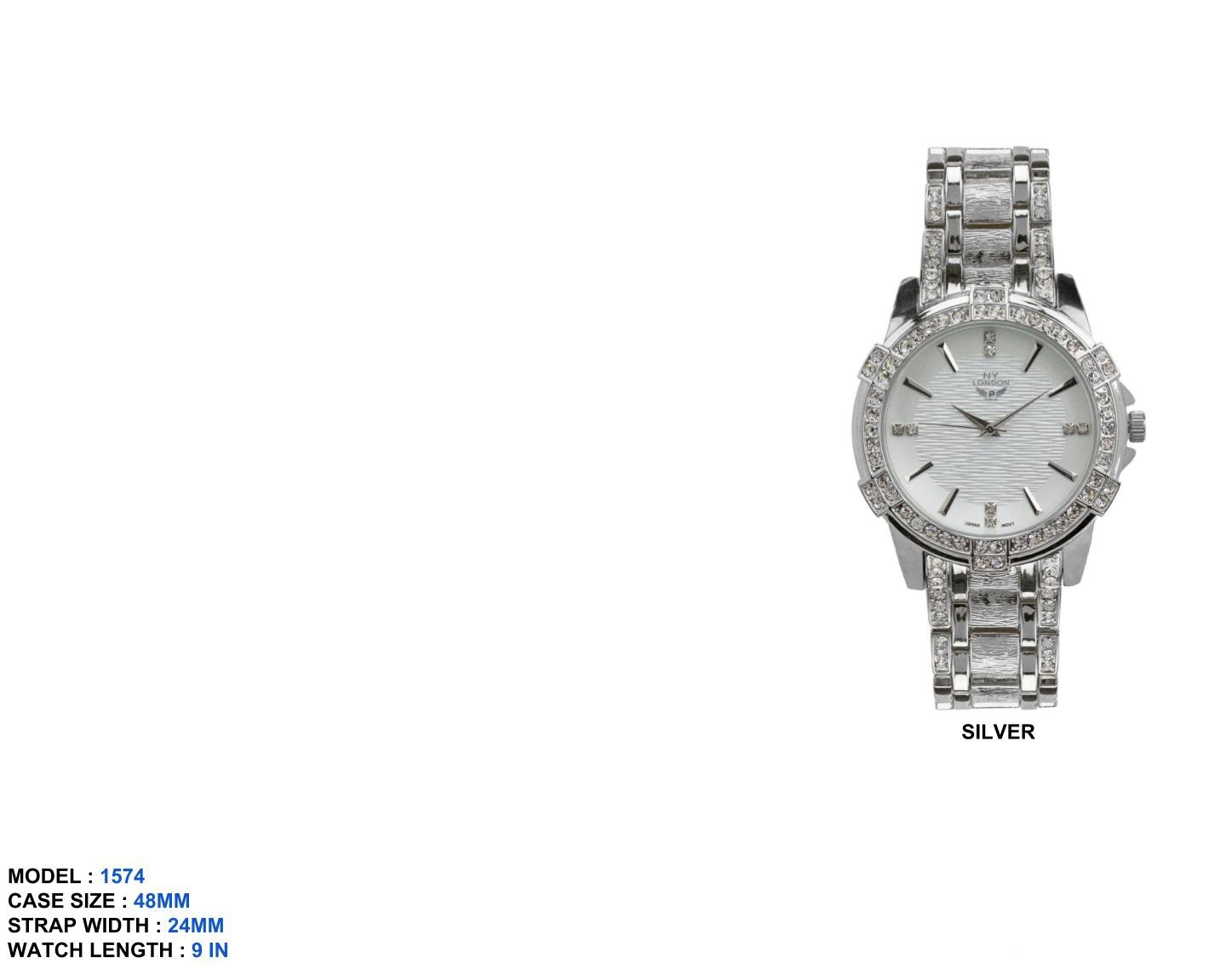 Men's 48mm Round CZ Dial with Fancy Band
