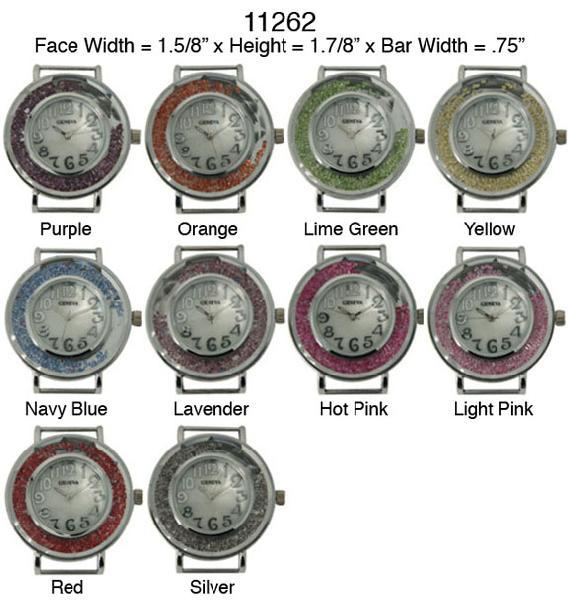 Geneva 34mm Round Solid Bar Watch Face with Floating Glitter