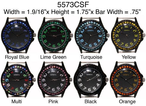 Geneva 22mm Round Colored full Stone Border Watch Face