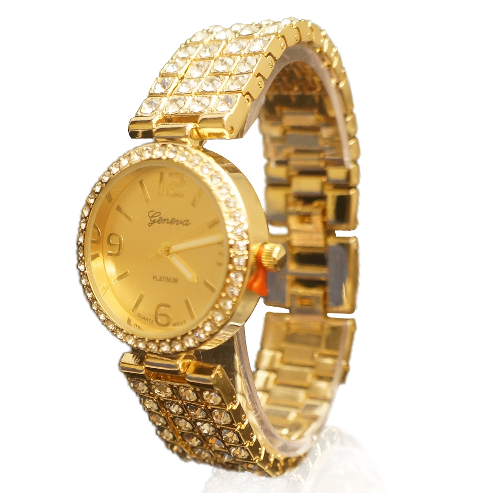 Ewatchwholsale-Women's 34mm Round CZ Face with Stone Fited Band