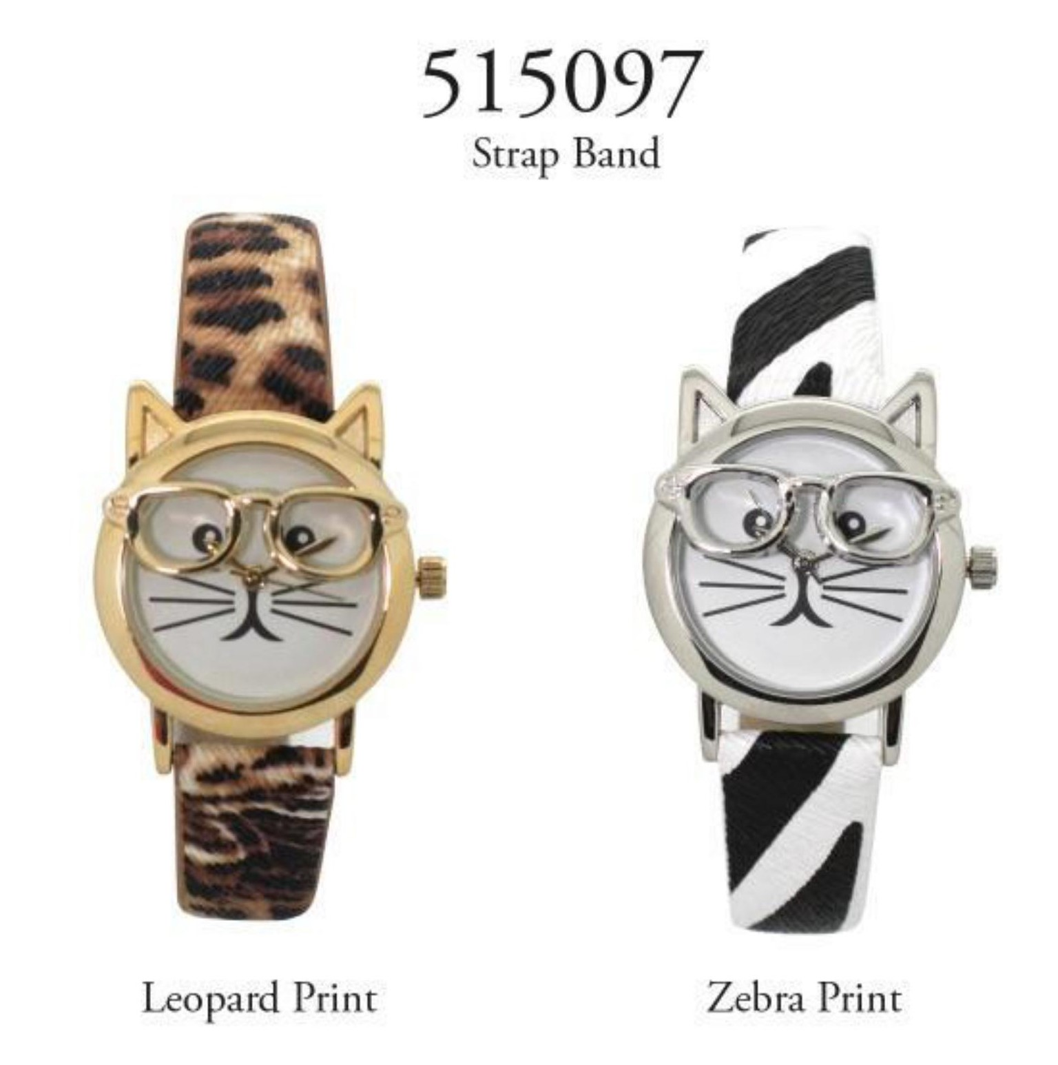 Women's 36mm Round Cat Face Printed Dial Watch