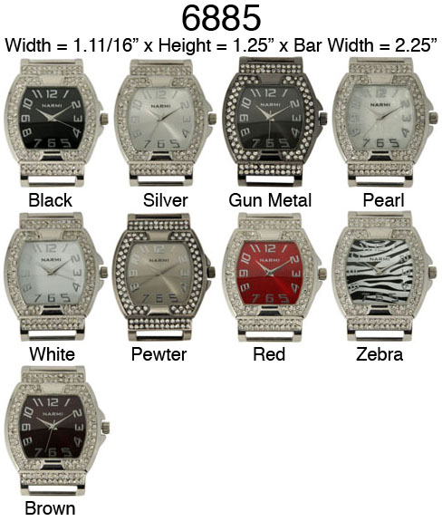 Narmi Solid Bar Watch Faces /W Rhinestones