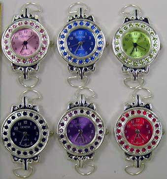Round Watches Faces with Color Rhinestone Case & Matching Dial