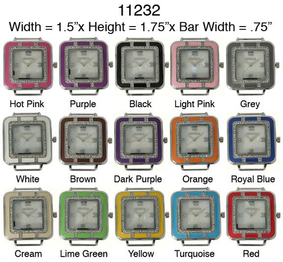 Square Enameled CZ Solid Bar Watch Faces