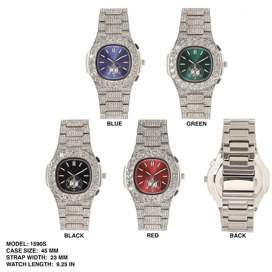NEW unisex 42mm  CZ  with Stone Boarder dial watch