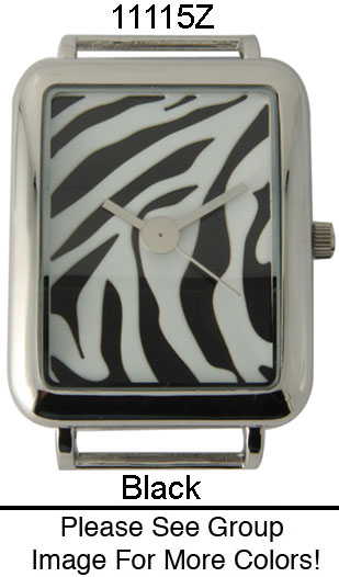 Rectangle Zebra Print Solid Bar Watch Face