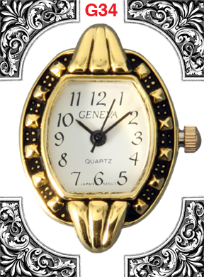 Geneva 24mm Gold Color Watch Face
