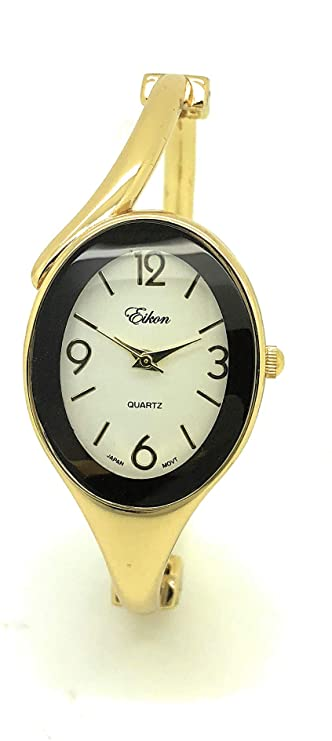 Ladies Oval Elegant Metal Bangle Cuff Fashion Watch Eikon