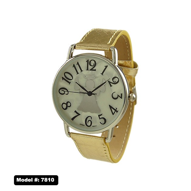 NEW Women's Round CZ Number Dial with Leather Band